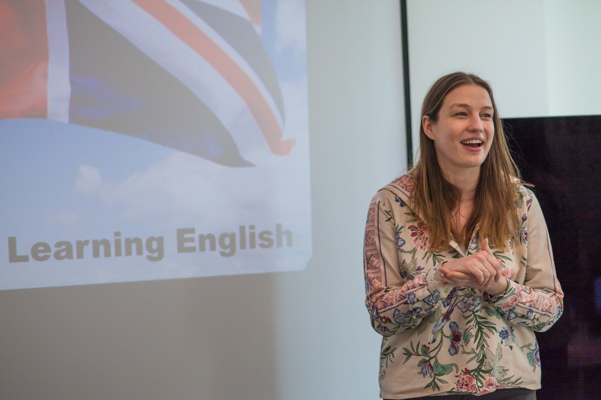 Natalia Szczesniak gives her final presentation at the Powerful Business Presentations training in Schibsted Tech Polska